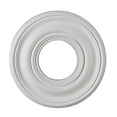 9-inch Medallion Fixture Accent with Bead Pattern in Matte White Finish