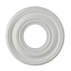 Hampton Bay 9-inch Medallion Fixture Accent with Bead Pattern in Matte White Finish