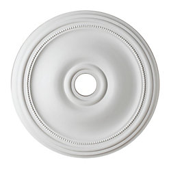 Hampton Bay 24-inch Medallion Fixture Accent with Bead Pattern in Matte White Finish