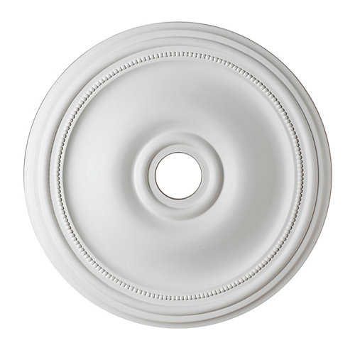 24-inch Medallion Fixture Accent with Bead Pattern in Matte White Finish