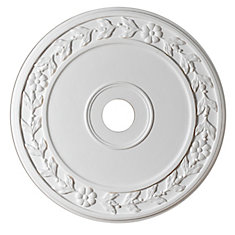 24-inch Medallion Fixture Accent with Floral Pattern in Matte White Finish