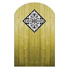 Treated Wood Gate with Decorative Insert
