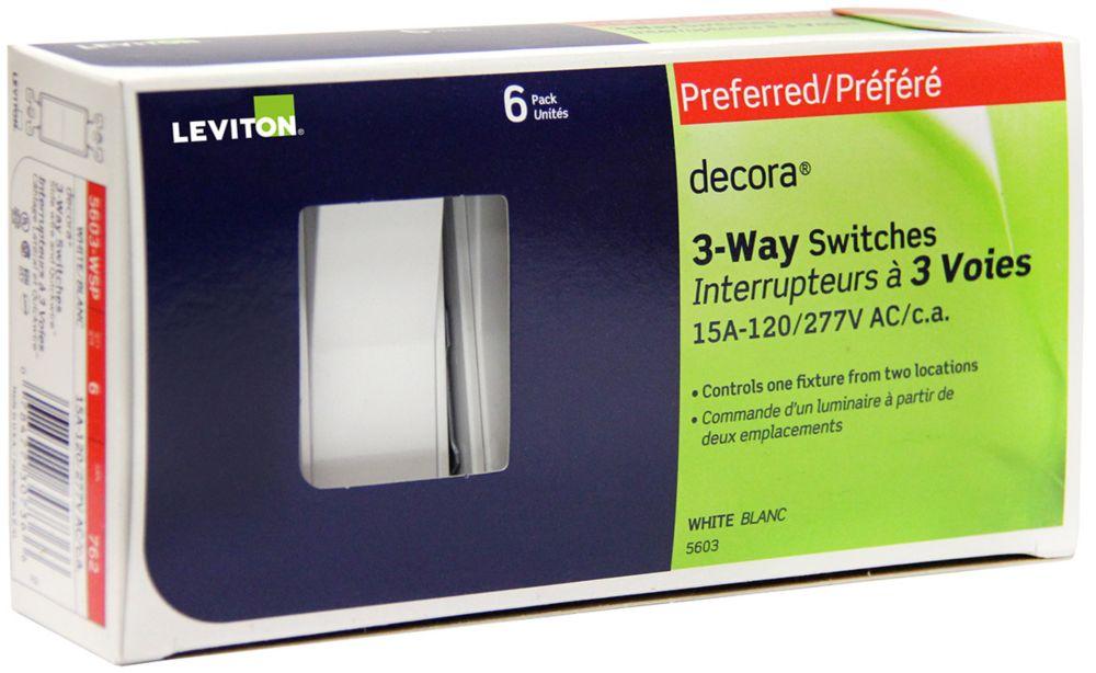 Interrupteurs Decora, À Trois Voies, 6x, Blanc