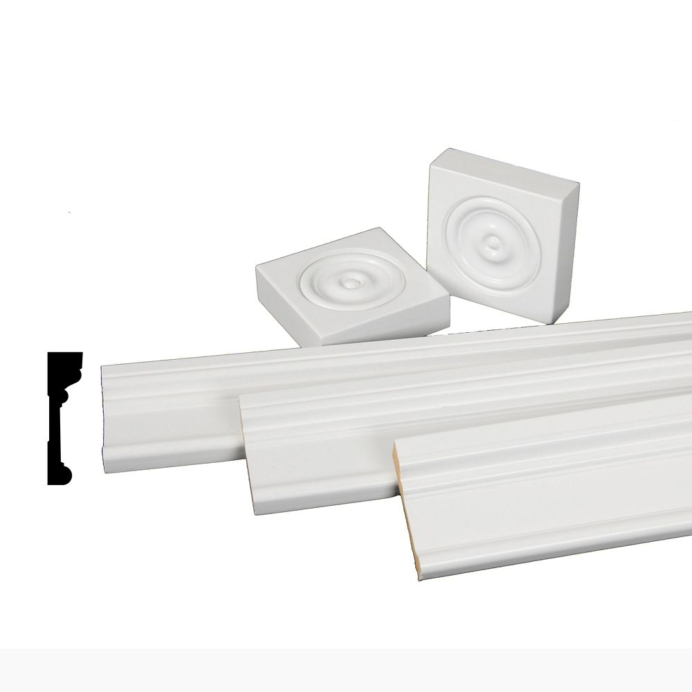 Primed Finger Jointed Pine Casing Set with Rosettes 11/16 In. x 2-1/2 In.