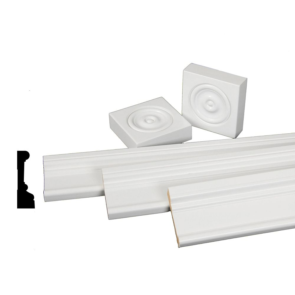 Primed Finger Jointed Pine Casing Set with Rosettes 1-1/16 In. x 3-1/2 In.