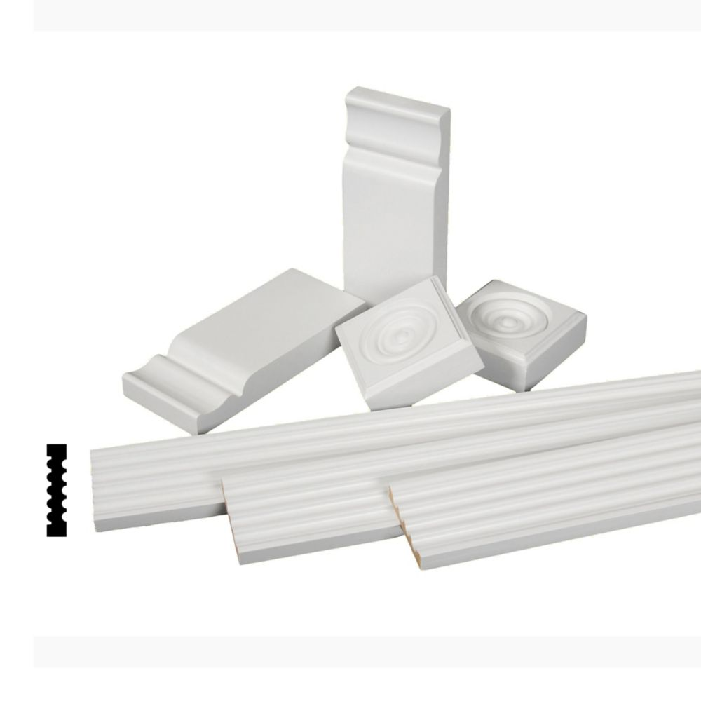 Primed Finger Jointed Pine Casing Set with Rosettes and Plinth Blocks 11/16 In. x 3-1/8 In.