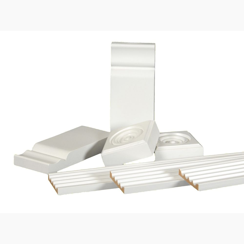 Primed Finger Jointed Pine Casing Set with Rosettes and Plinth Blocks 3/8 In. x 2-1/4 In. x 76 In...