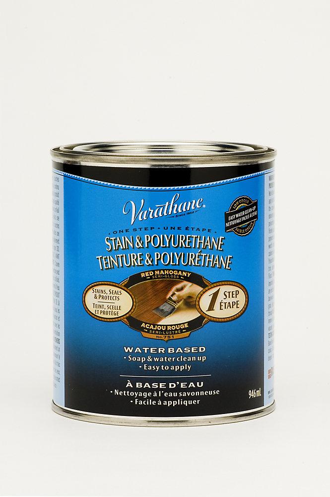 Teinture & Polyuréthane (base d'eau Int.) - Acajou rouge (946ml)