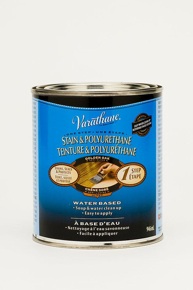 Teinture & Polyuréthane (base d'eau Int.) - Chêne doré (946ml)