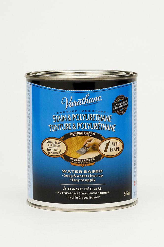 Teinture & Polyuréthane (base d'eau Int.) - Pacanier doré (946ml)