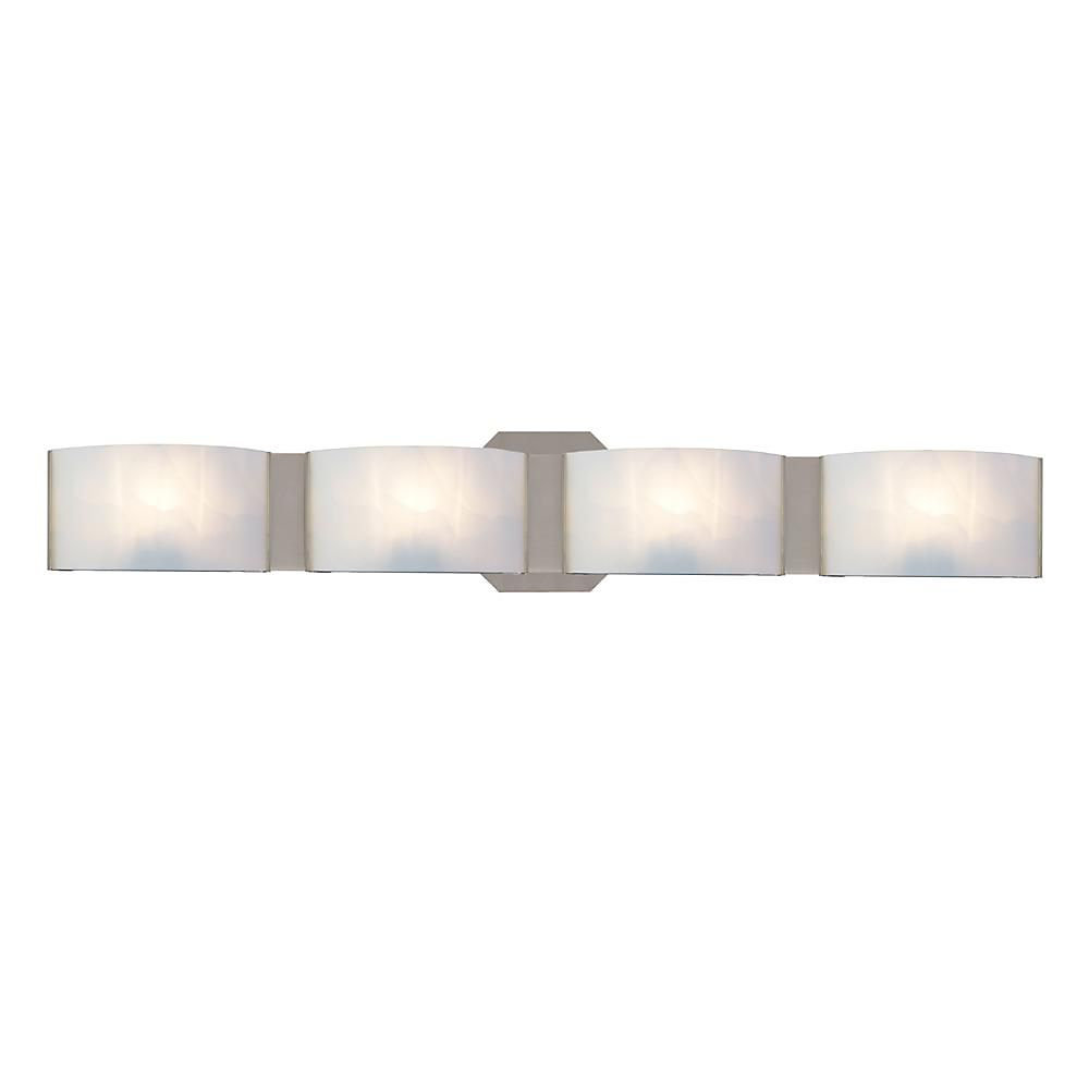 Dakota 4-Light Satin Nickel Vanity Light with Curved Frosted White Glass Shades