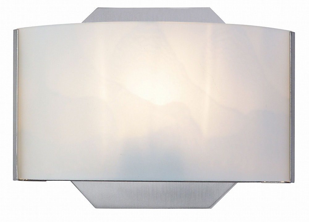 Dakota 1-Light Satin Nickel Vanity Light with White Glass Shade