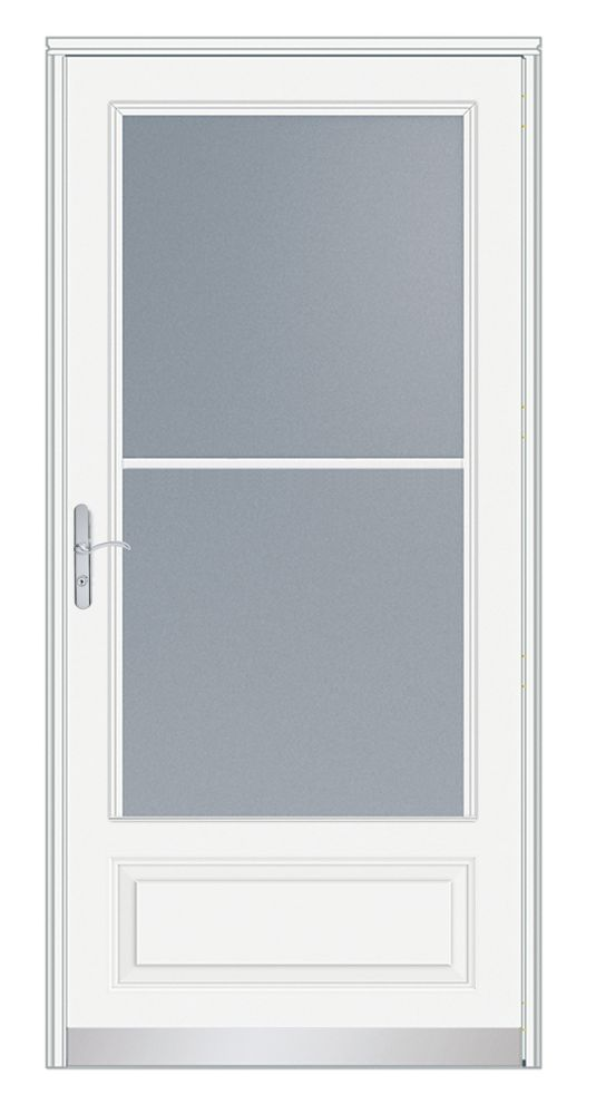 EMCO 34-inch W 400 Series Venting White Screen Door with Nickel Hardware