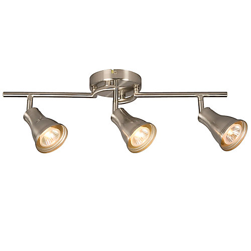 Hampton bay 3 light brushed nickel track light the home depot canada 3 light brushed nickel track light aloadofball Image collections