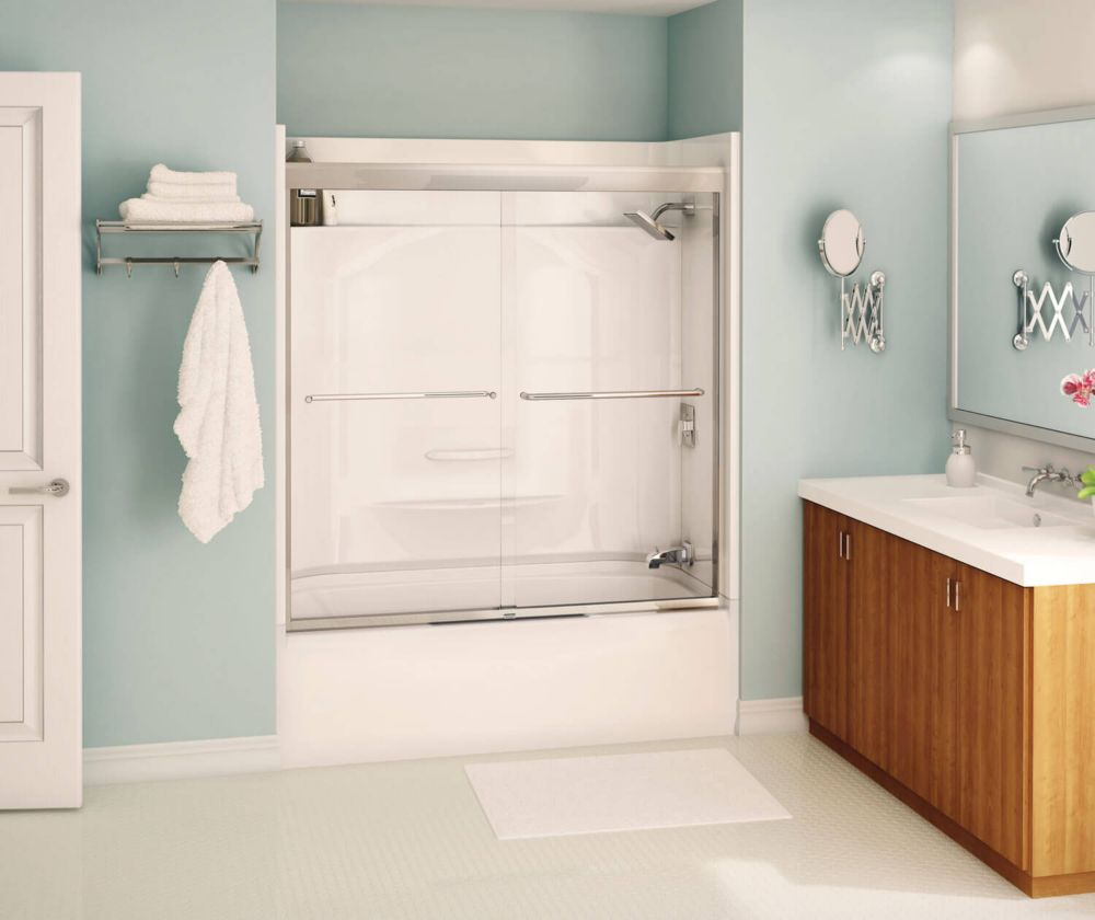 maax tonik 2 panel frameless tub shower door 59 1 2 inches