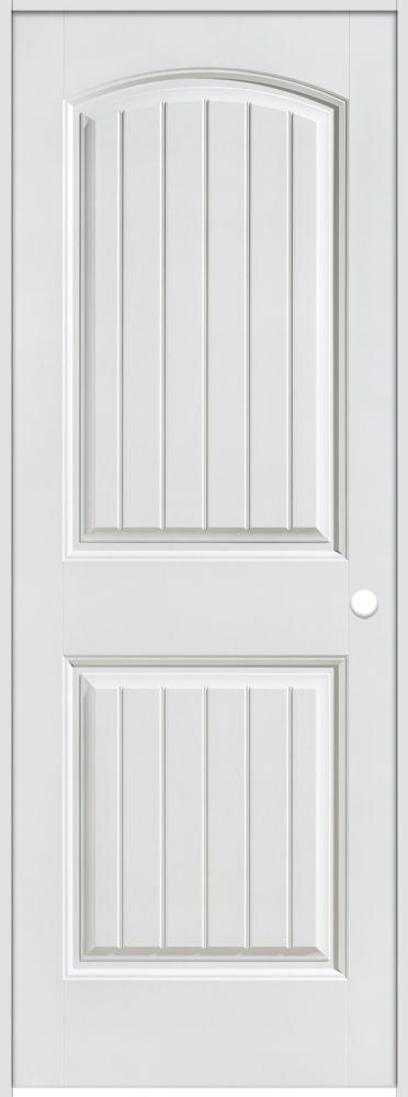 30-inch x 80-inch Lefthand Primed 2-Panel Plank Smooth Prehung Interior Door