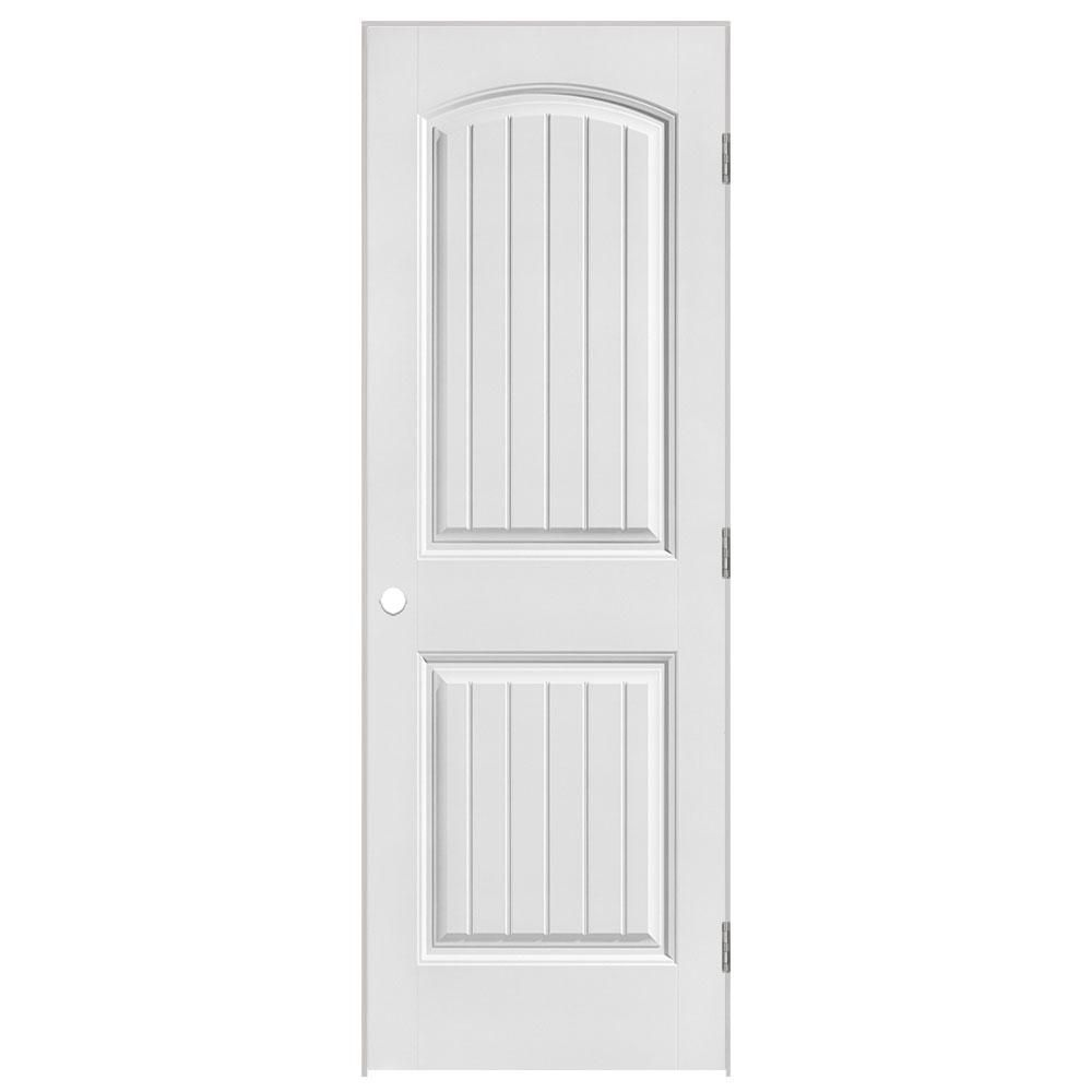 28-inch x 80-inch Lefthand Primed 2-Panel Plank Smooth Prehung Interior Door