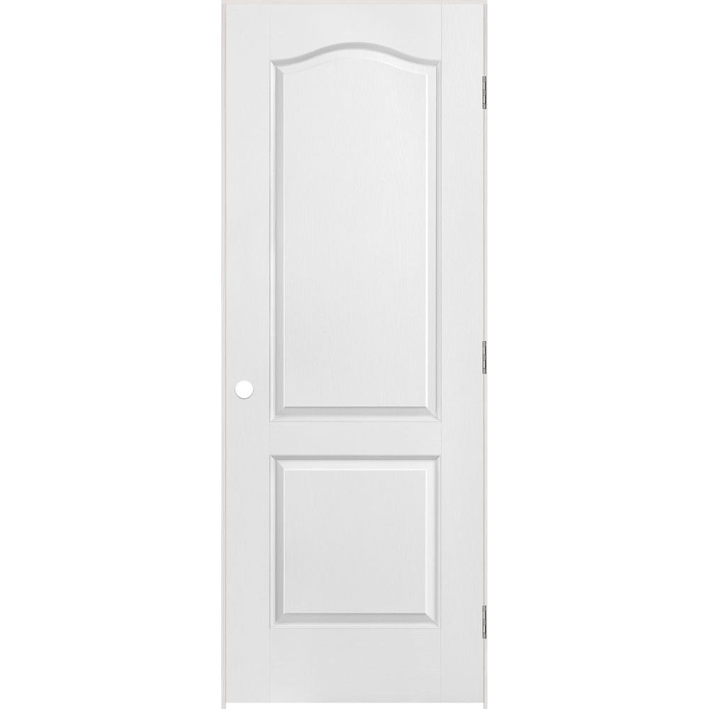 Masonite 2 panel arch top textured pre hung door 28in x for Pre hung doors