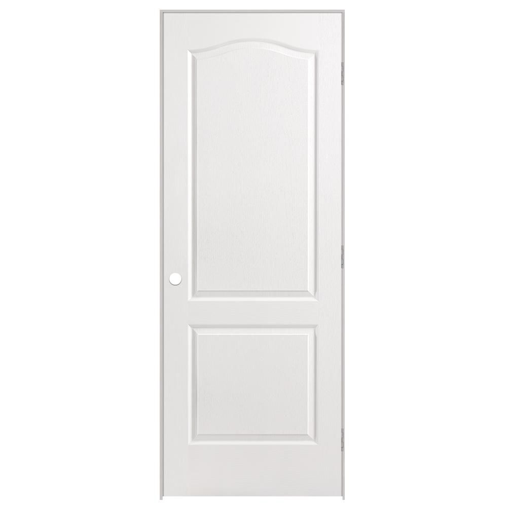 30-inch x 80-inch Lefthand 2-Panel Arch Top Textured Prehung Interior Door