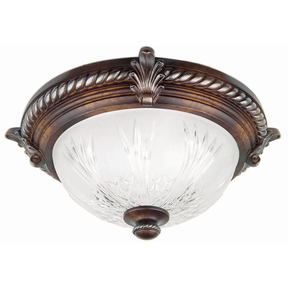 Hampton Bay Bercello Estates 2-Light Volterra Bronze Flushmount Ceiling Light with Frosted Glass Dome Shade