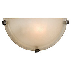 1-Light Wall Sconce in Bronze with Frosted Glass Shade