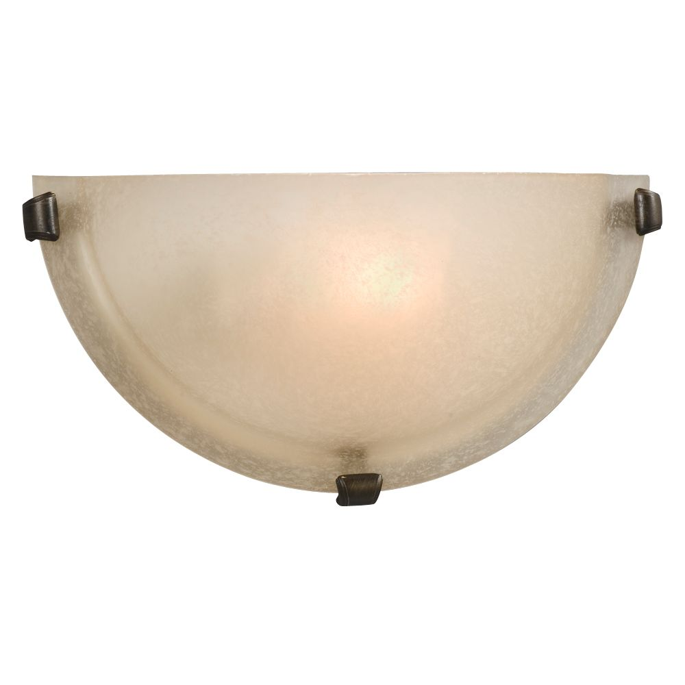 Hampton Bay 1-Light Bronze Sconce with Frosted Glass Shade