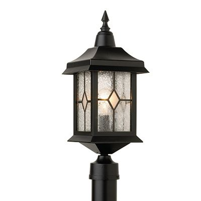 Victoria, Post Mount, Crafted Style Glass Panels, Black Finish (pole not included) 81490BK in Canada