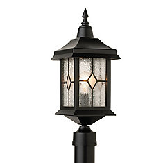 Victoria, Post Mount, Crafted Style Glass Panels, Black Finish (pole not included)