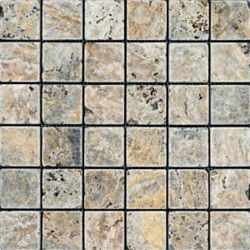 Anatolia Tile 2-Inch x 2-Inch Scabos Tumbled Travertine Mosaic Tile