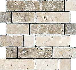 Anatolia Tile Chiaro Noce Random Brick Tumbled Mosaic The Home Depot Canada