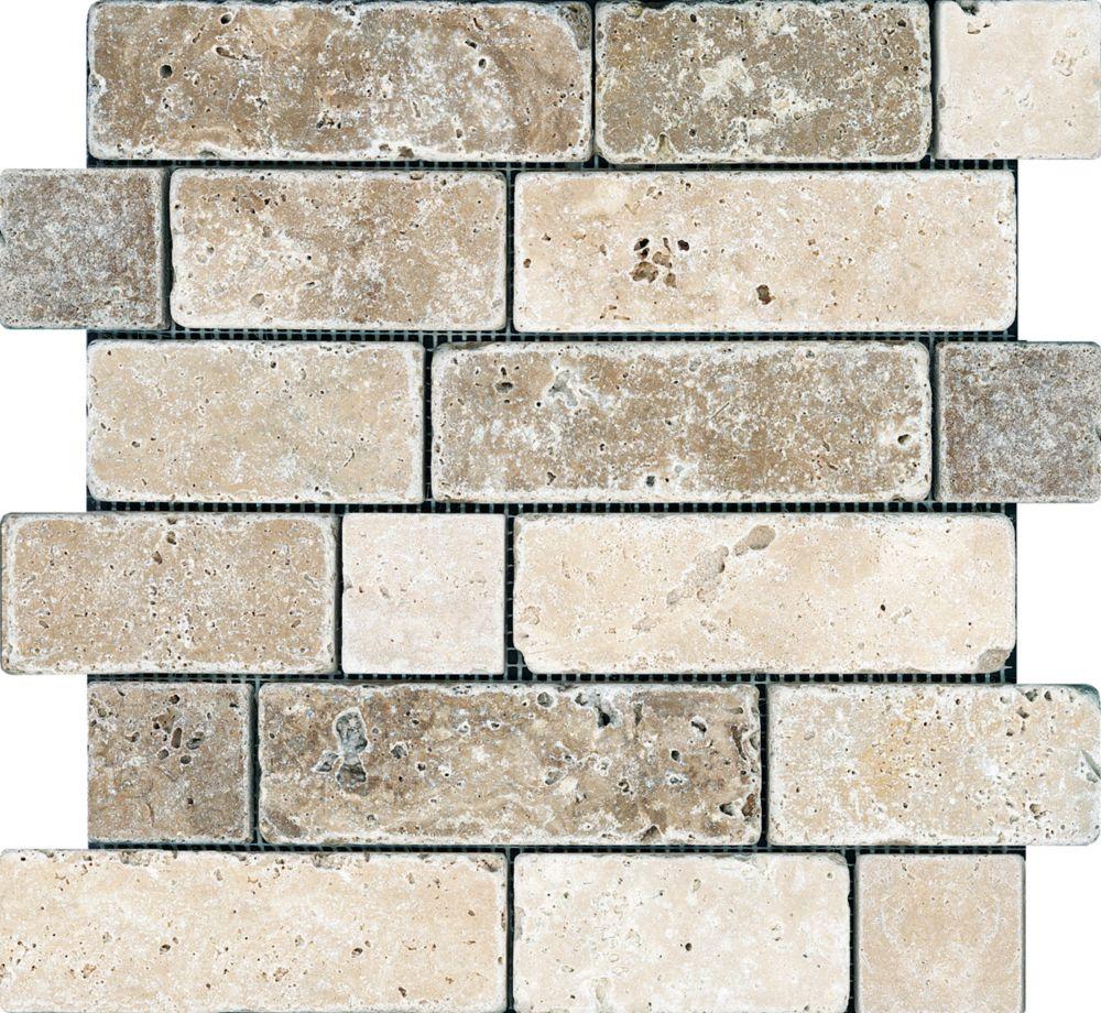 Chiaro/Noce Random Brick Tumbled Mosaic Tile