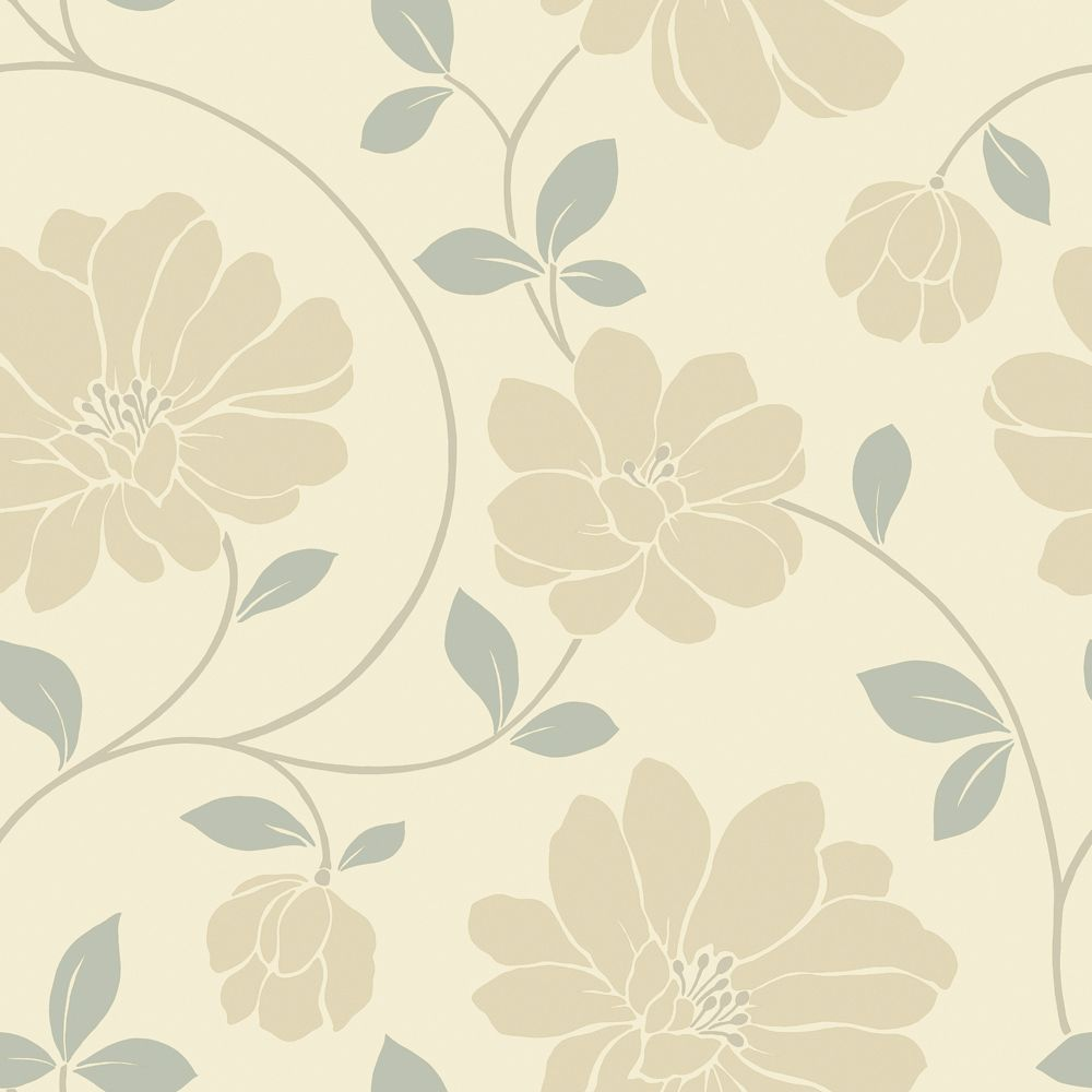 The wallpaper company 20 5 in w beige and grey large - Floral wallpaper home depot ...