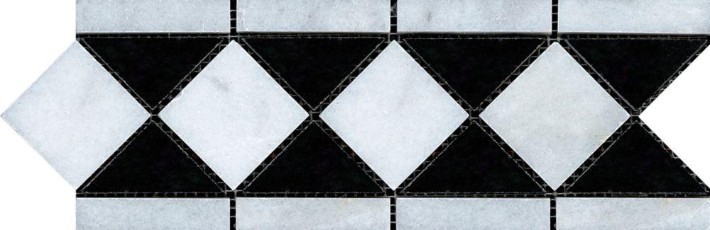 4-Inch x 12-Inch Bianco Nero Border Tile