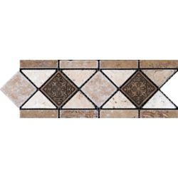 Anatolia Tile 4-inch x 12-inch Noce with Fiore Metal Decorative Border Tile