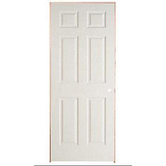 28 Inch X 78 Lefthand 6 Panel Textured Prehung Interior Door