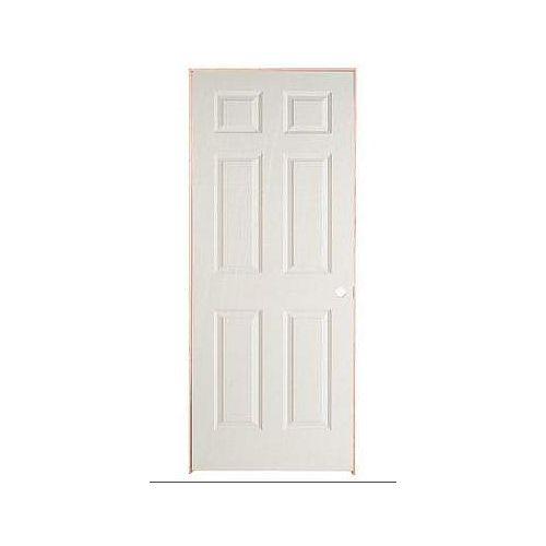 Masonite 28-inch x 78-inch Lefthand 6-Panel Textured Prehung Interior Door