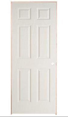 32-inch x 78-inch Lefthand 6-Panel Textured Prehung Interior Door