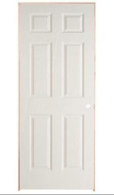 32-inch x 78-inch Lefthand 6-Panel Textured Prehung Interior Door