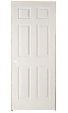 32-inch x 78-inch Righthand 6-Panel Textured Prehung Interior Door