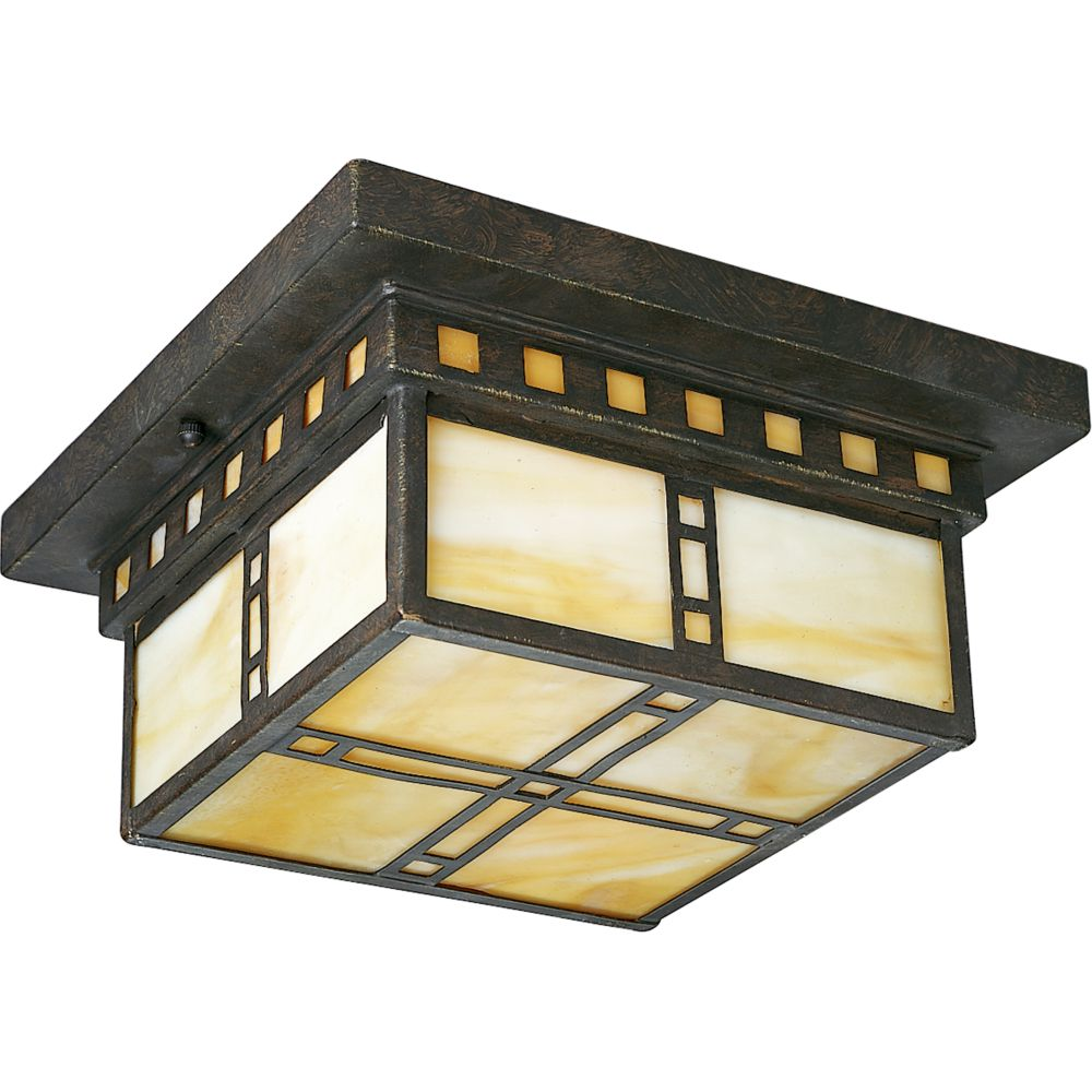 Arts and Crafts Collection Weathered Bronze 2-light Flushmount