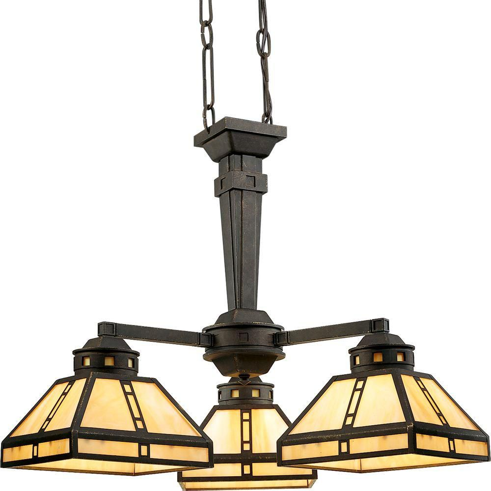 Arts and Crafts Collection Weathered Bronze 3-light Chandelier