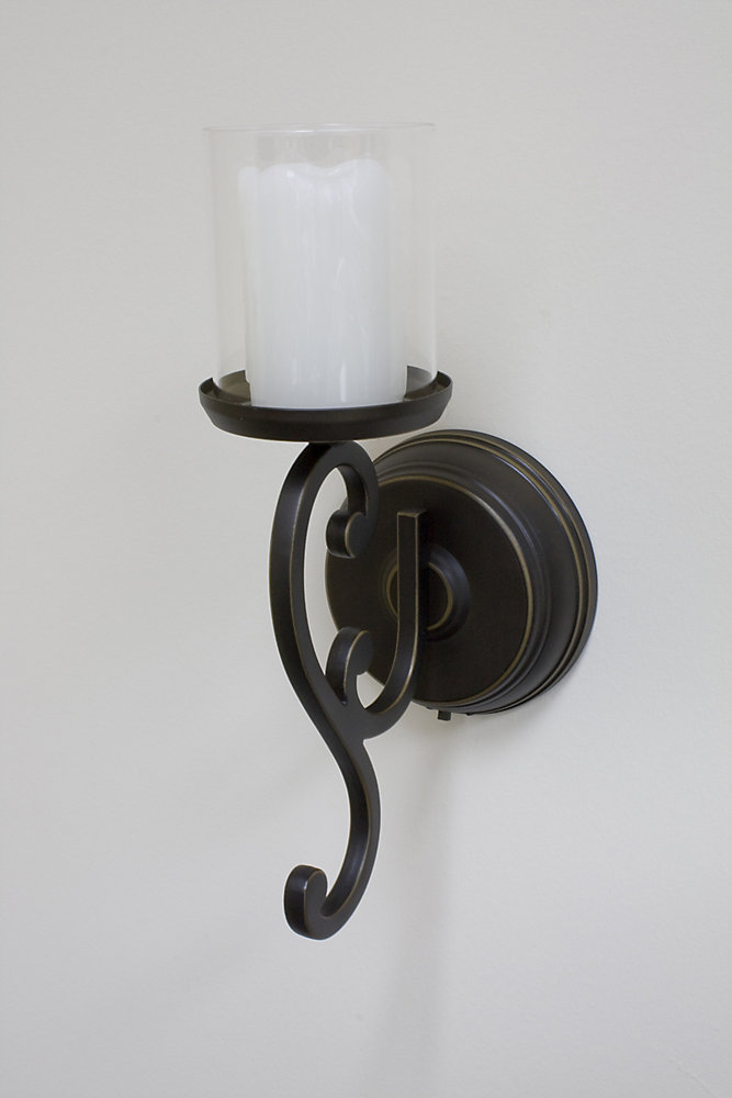 Inglow Battery Operated Flameless Single Candle Wall Sconce The Home Depot Canada