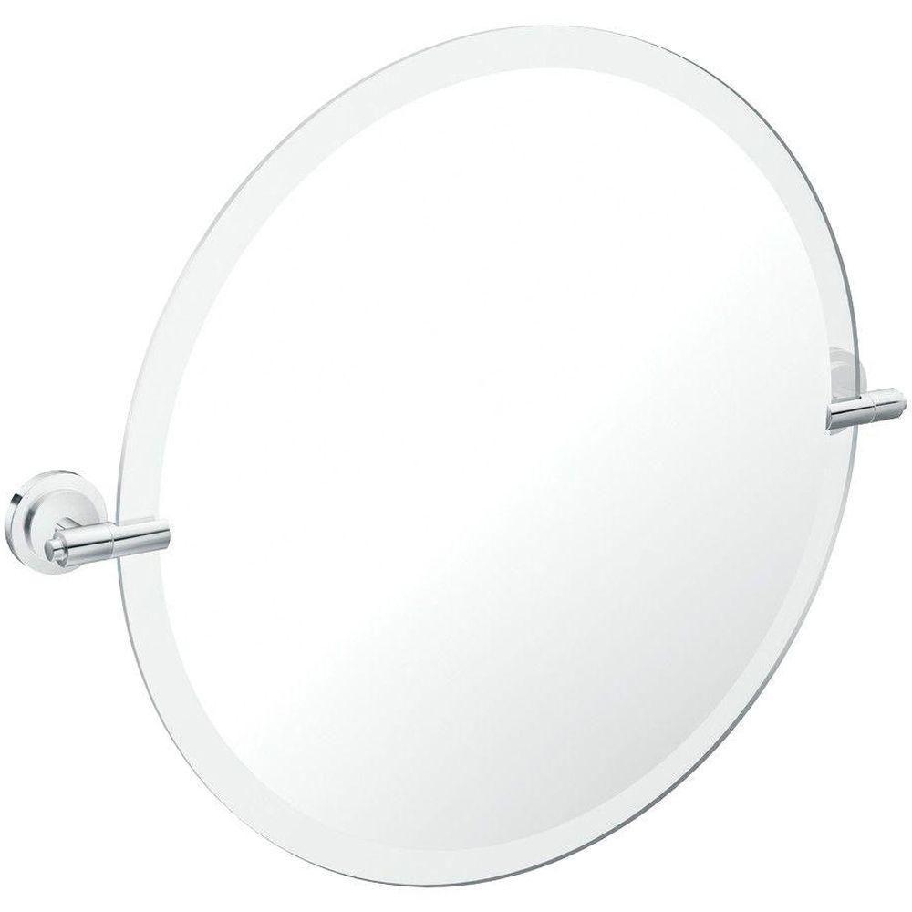 Iso Chrome Mirror with Pivoting Decorative Hardware