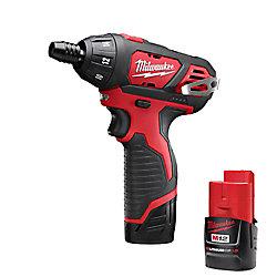 Milwaukee Tool Tournevis hex. sans fil M12 au lithium-ion, 1/4po, 12V; 2batt. de 1,5Ah, chargeur, sac à outils