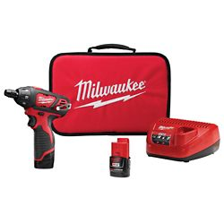 Milwaukee Tool M12 12V Lithium-Ion Cordless 1/4-inch Hex Screwdriver Kit W/(2) 1.5Ah Batteries, Charger & Tool Bag