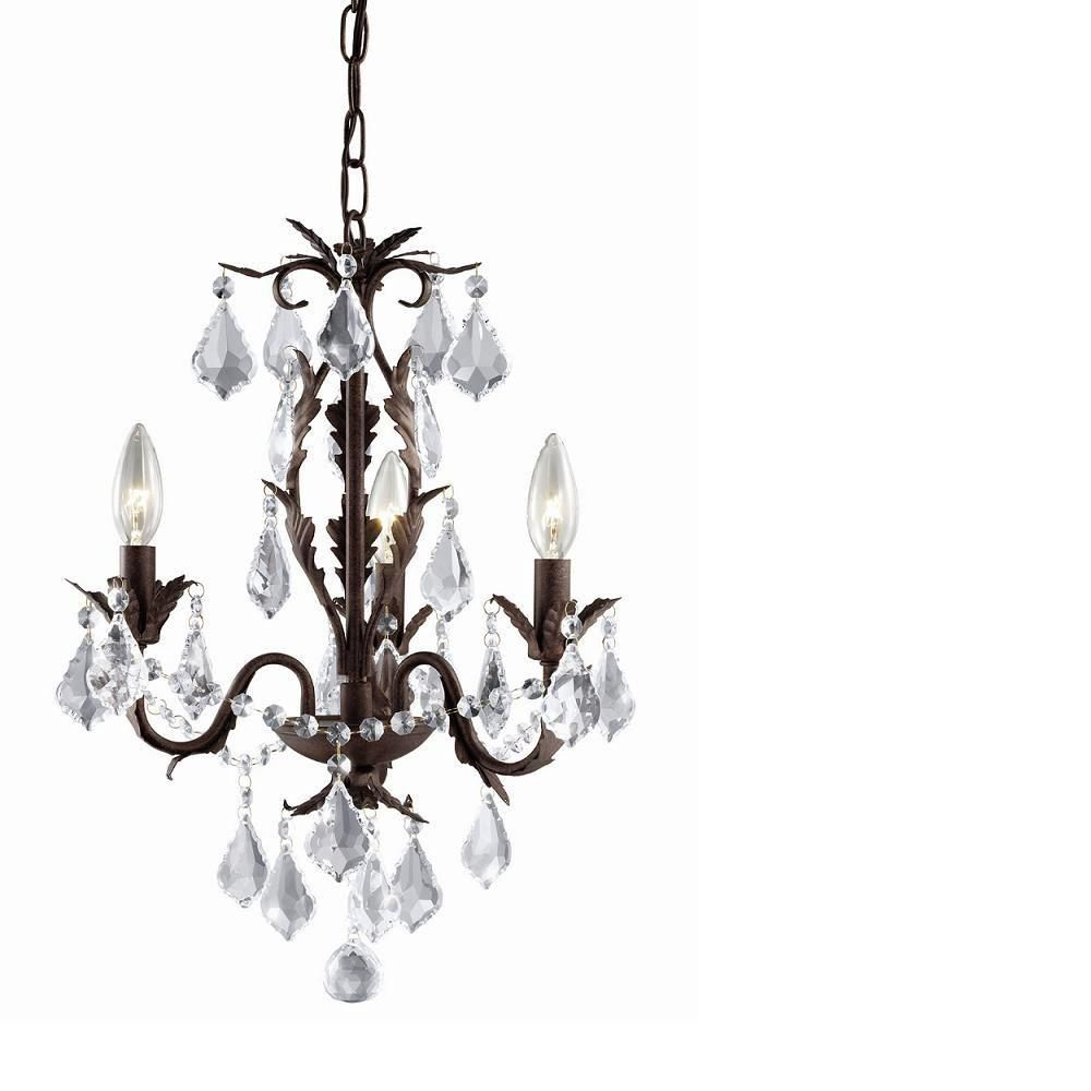 Hampton Bay 3-Light Chandelier in Aged Iron with Crystal Accents