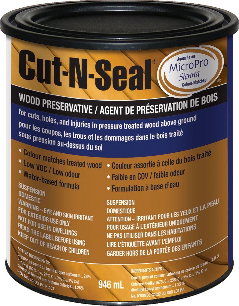 Cut N Seal Pro Guard End Cut Sealer for Pressure Treated Wood in Brown, 946mL