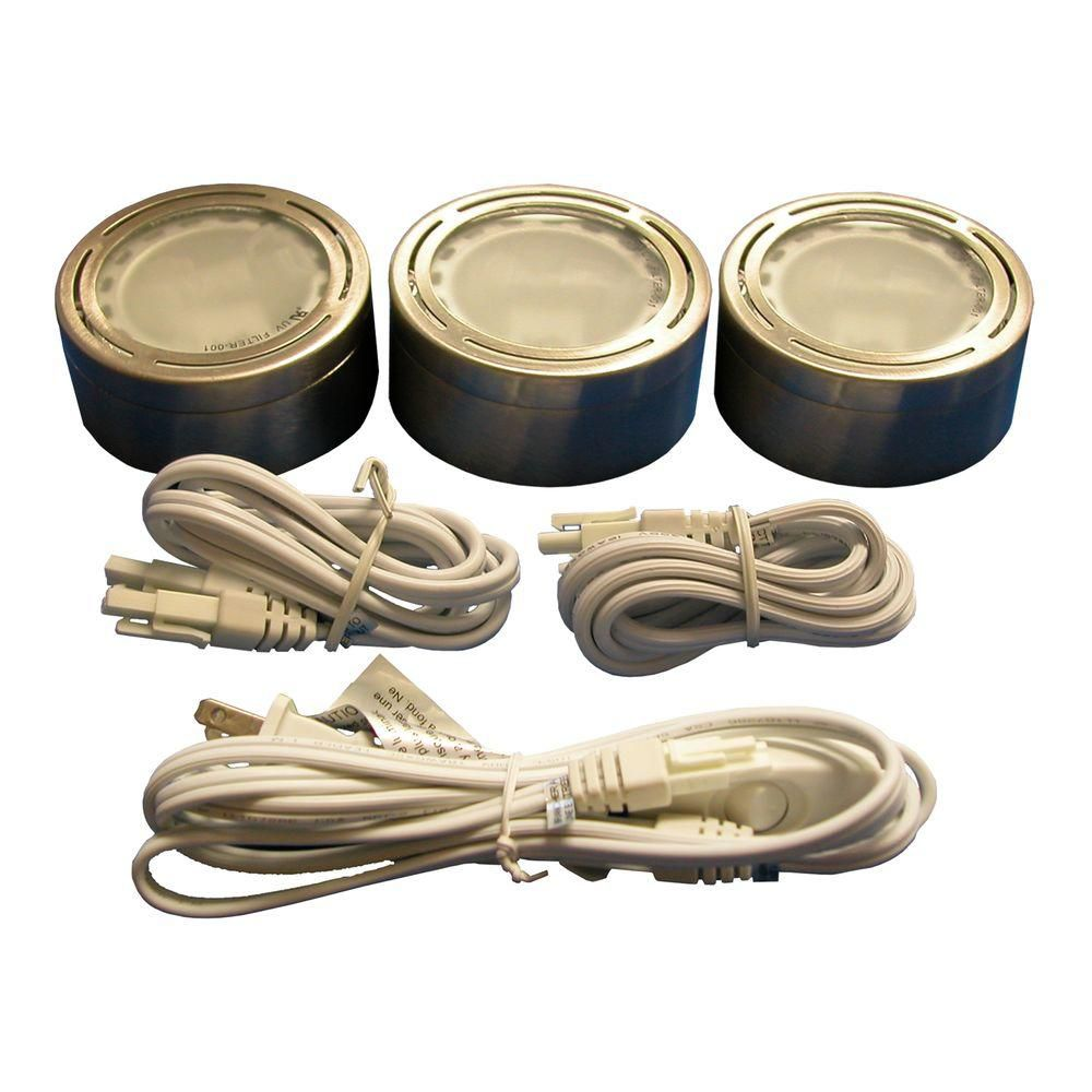 3 Xenon Metal Puck Kit, Satin Nickel
