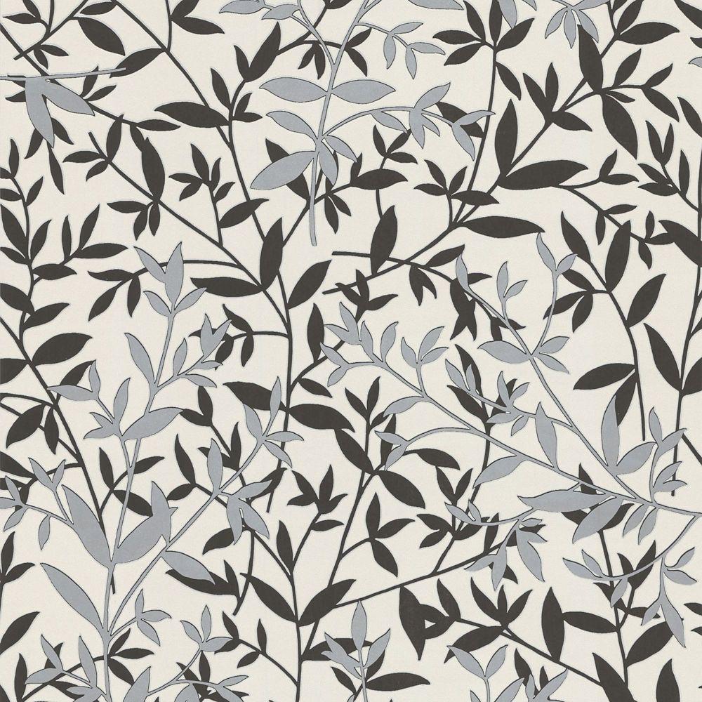 Bijou Black/White/Silver Wallpaper