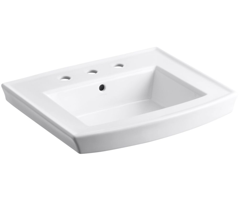 Archer 24-inch x 20 1/2-inch Bathroom Sink Pedestal in White
